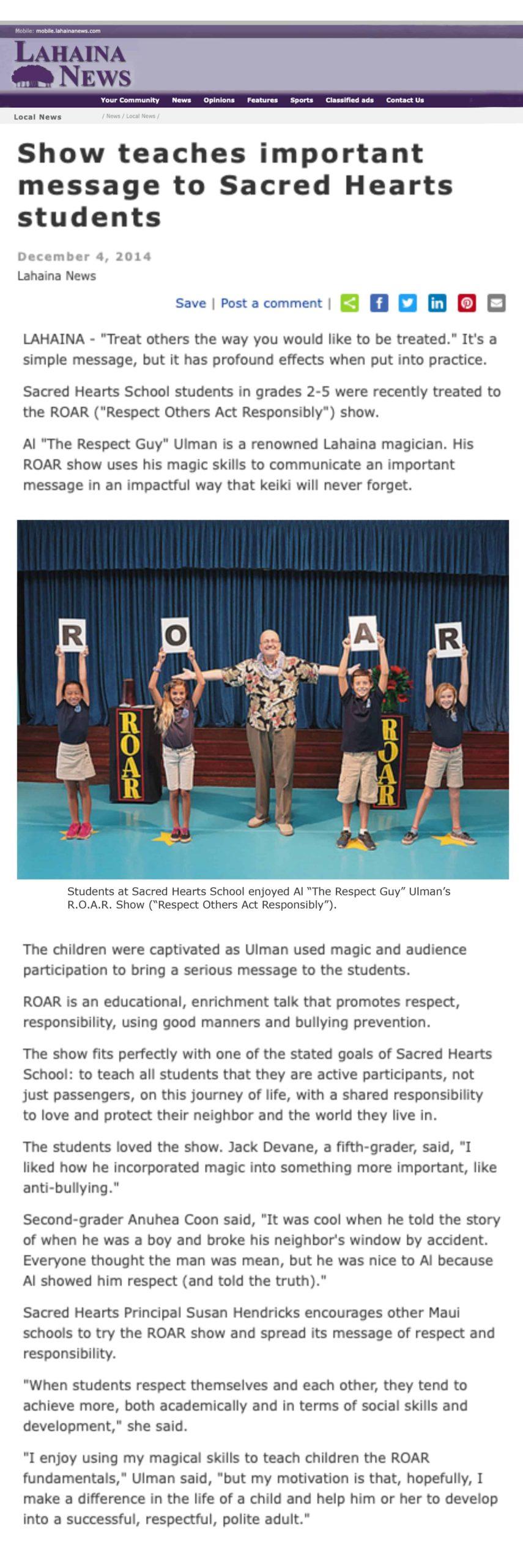 The ROAR Show Lahaina News Story